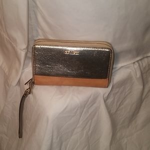 Coach all leather two tone wristlet